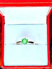 SPARKLING GREEN TSAVORITE GARNET PREMIUM STERLING SILVER RING, SIZE M, 6.5 mm