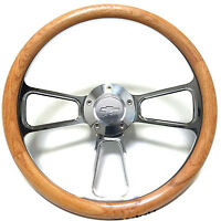 "1968 -1982 Corvette 14""  Steering Wheel Kit, Real Oak & Billet with Chevy Horn"