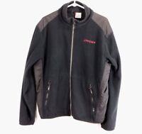 Spyder Mens Large Spell Out Full Zip Outdoor Skiing Fleece Jacket Coat Black