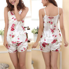 2pcs Ladies Sexy Ice Silk Sleepwear Pajamas Set Blouses Shirt Shorts Underwear&