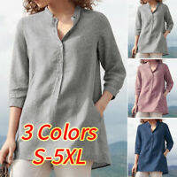 UK 8-24 Women V-Neck Buttons Tops Shirt 3/4 Sleeve Casual Loose Tee Blouse Plus