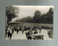 Mint WW2 Liberation of paris France US Army Infantry Champs Elysee Postcard RPPC