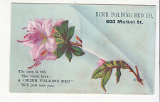 Burr Folding Bed Co. Market Street Rose is Red Violet is Blue  Vict Card c1880s