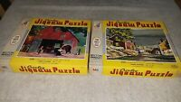 2 Vintage Croxley Jigsaw Puzzle Milton Bradley 1963 Harbor Street The Blacksmith