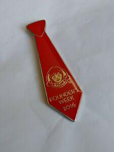 Wendy's Restaurant 2016 Founder's Week Red Necktie Lapel Hat Jacket Pin