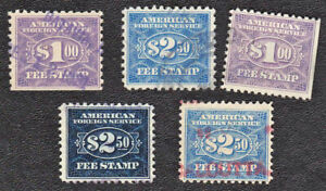 US - 5 ea Foreign Service Stamps RK27, 29, 34, 36, & 36a - 1927 -  11554