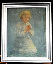 Beau portrait de fillette Peinture tableau Alexandre Louis Martin Carnières