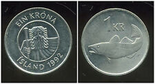 ISLANDE  1 krona  1992  ANM  ( bis )