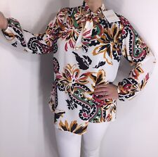 NEW White Floral Blouse Pussy Bow Tie Neck Stretchy Long Sleeves Long One Size