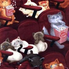 Fabric Cats Watching Scary Movie On Maroon Cotton by the 1/4 Yard BIN