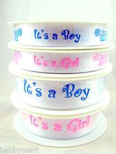 It's a BOY - It's a GIRL - 15mm & 25mm Double Sided Satin Celebration Ribbon