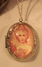 "Lovely Alphonse Mucha ""Spring"" Repro Painting Cameo Locket Goldtone Necklace"