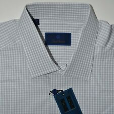 David Donahue Open Check Dobby Dress Shirt Size 17.5-36/37 $135 NWT