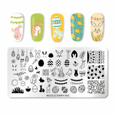 Nail Art Stamping Plate Image Decoration Easter Bunny Rabbit Eggs Chicks ND42