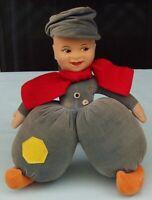 Chad Valley Cloth Boy Dutch  Doll  Vintage Felt Toy England  Royal Warrant Label