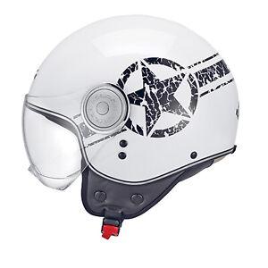 Casco Demi Jet Kappa KV8 U-STAR Bianco Stella nera moto scooter outlet