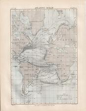 Atlantic Ocean Original colour map 1875 W & A K Johnston