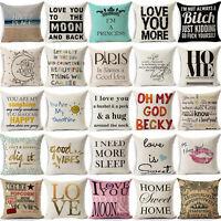 Romantic Quote Love Cotton Linen Sofa Pillow Case Cushion Cover Throw Home Decor