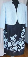 Jacques Vert MONIQUE NAVY TRAILING DAISY SHIFT DRESS POWDER BLUE MOIRE JACKET