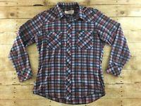 Vtg Wrangler Western Shirt Large Slim Pearl Snap Rodeo Wranchwear Cowboy 70s 80s