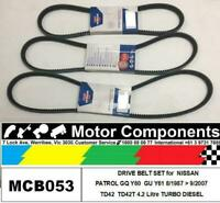 FAN DRIVE V BELT SET for NISSAN PATROL GQ Y60 GU Y61 TD42 4.2L DIESEL 87> 9/2007