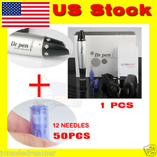 Electric Derma Dr Pen Stamp Auto Micro Needle Roller with needles cartridges*52