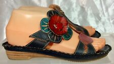 Spring Step STANWYCK Navy Blue Leather Multicolor Flower Sandals Women's sz 37