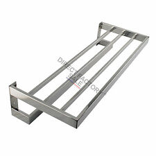 Square Towel Shelf Stainless Steel Rack Rail Bathroom Accessories Wall Mount NEW
