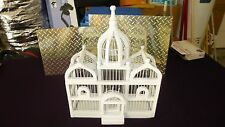 VINTAGE White Wooden Bird Cage Architectural Wood Dome Top Cathedral Victorian