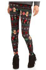 Christmas Leggings LARGE Womens Gingerbread Man Holiday SOFTBRUSH Footless NWT