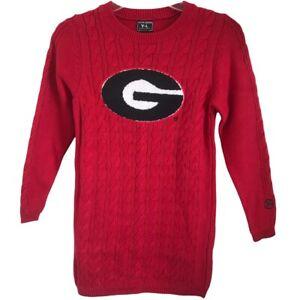 Alma Mater NWT Girls' Georgia Bulldogs Cable Knit Sweater Dress Size Large