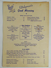 "1941 Vintage ""Good Morning"" Breakfast Menu WALGREEN'S Ham Eggs Donuts for $.30"