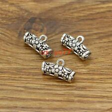 20 Curved Flower Tube Beads Spacer Connectors Antique Silver Tone 19x11x7mm 3063