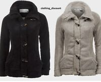 Ladies Womans Teddy Fleece Winter Jacket Coat Black Grey S M 8 10 Warm Brand New