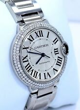 Cartier Ballon Bleu W6920046 36mm Midsize 1.65CT Diamond Bezel Auto Watch *NEW*
