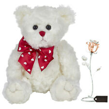 Bearington Lil' Teddy Bear + Chrome & Rose-Gold Plated Flower Tabletop Ornament