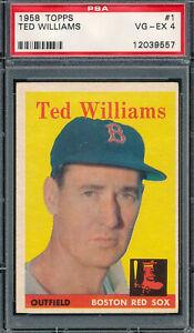 PSA 4 VG-EX GRADED TED WILLIAMS 1958 TOPPS #1 VINTAGE RED SOX UNCREASED *V-TPHLC