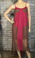 TWELFTH STREET CYNTHIA VINCENT DRESS L LARGE CASUAL MAXI HI LOW BROWN PINK NEW