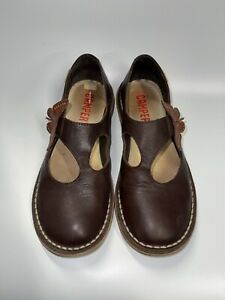 Camper Butterfly Brown Leather Mary Jane Flats Shoes 38 7.5