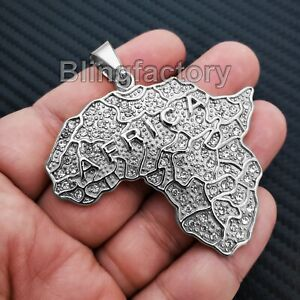 Iced Hip Hop Stainless steel Silver Tone Africa Continent Medal Charm Pendant