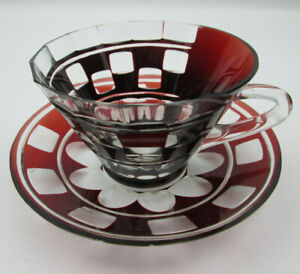 Vintage Crystal Red Cut to Clear Glass Cup and Saucer Bohemian SOME SMALL CHIPS