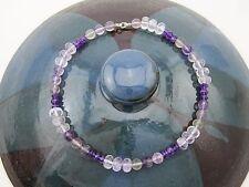 Steinkette Kette Collier 925 Silber Amethyst Fluorit Quarz lila violett Kugeln
