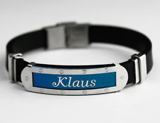 KLAUS - Mens Silicone & Blue Name Plate Engraved Bracelet - Fathers Day Gifts