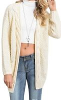 *NEW Women's Fall Autumn Cable Knit Ivory Long Cardigan Sweater Ivory Sz L 8/10