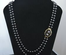 Vintage Japan MENORCA Pearl Double Strand Necklace Hematite Cameo Brooch Clasp