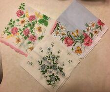 "Three Ladies Vintage Handkerchiefs, Floral, 11"""