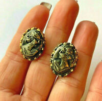Vintage Gold Tone Cameo Lady Clip On Earrings