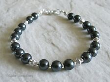 Black Pearls & Silver Beaded Fashion Bracelet