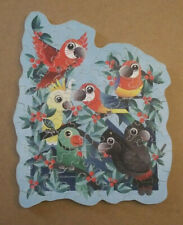 """""""Tropical Birds"""" Vintage Style Hand cut wood jigsaw puzzle 65 pieces"""