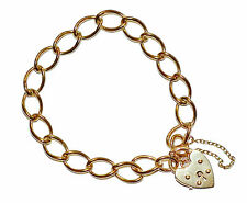 Fully Hallmarked 9ct Yellow Gold Open Link Charm Bracelet With Heart Padlock